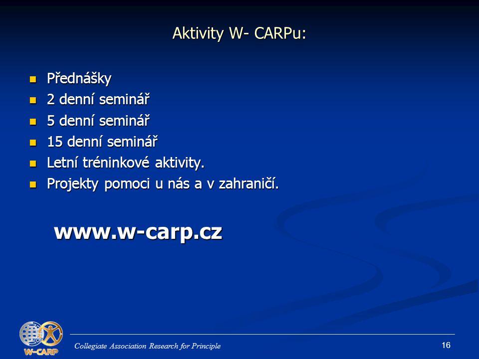 www.w-carp.cz Aktivity W- CARPu: Přednášky 2 denní seminář