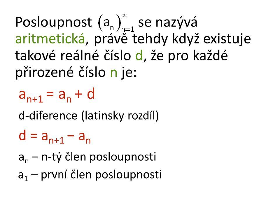d-diference (latinsky rozdíl) d = an+1 − an