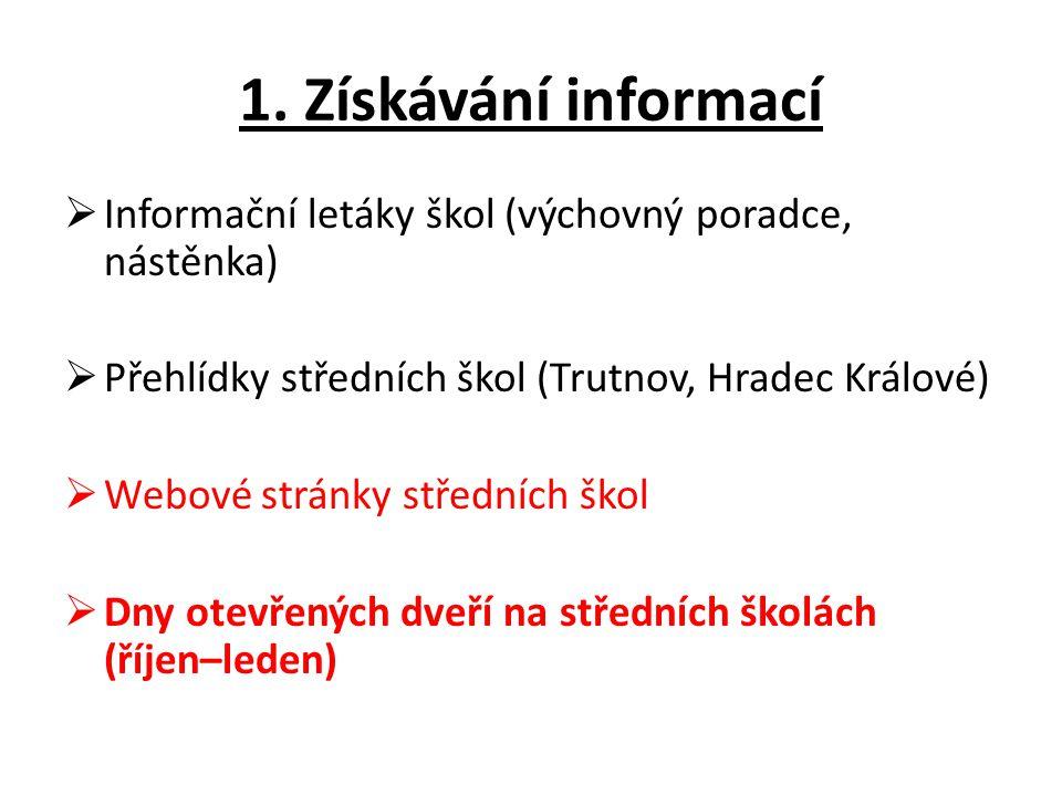 1. Získávání informací Informační letáky škol (výchovný poradce, nástěnka) Přehlídky středních škol (Trutnov, Hradec Králové)