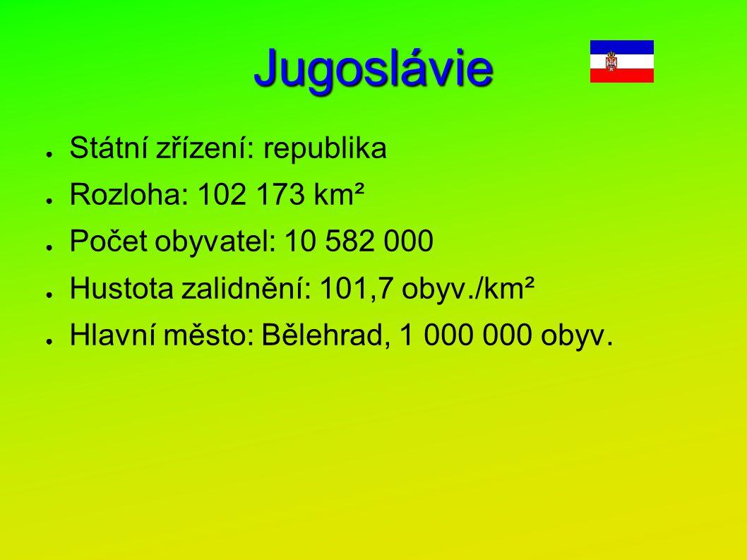 Jugoslávie Státní zřízení: republika Rozloha: 102 173 km²