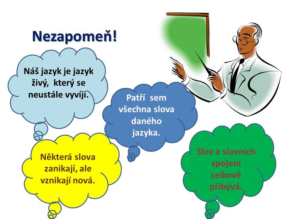 Náš jazyk je jazyk živý, který se neustále vyvíjí.