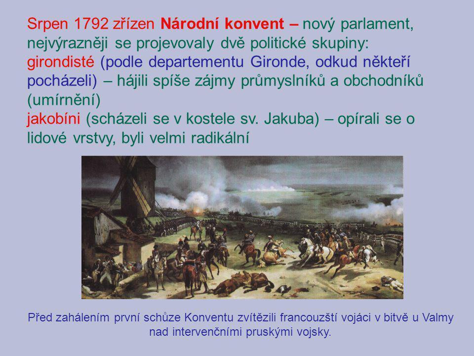 Srpen 1792 zřízen Národní konvent – nový parlament, nejvýrazněji se projevovaly dvě politické skupiny: