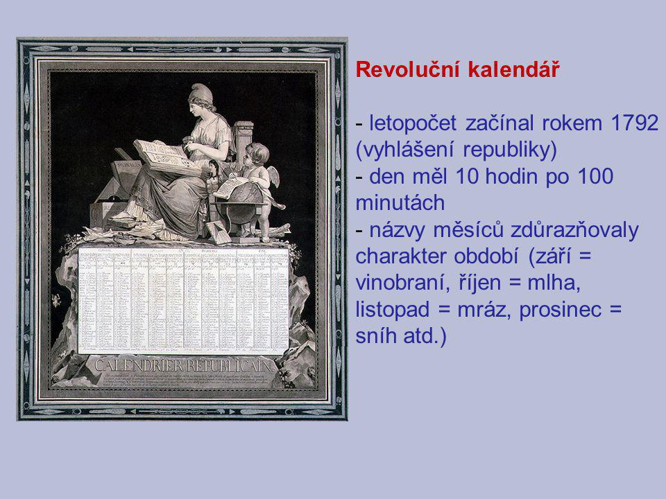 Revoluční kalendář letopočet začínal rokem 1792 (vyhlášení republiky) den měl 10 hodin po 100 minutách.