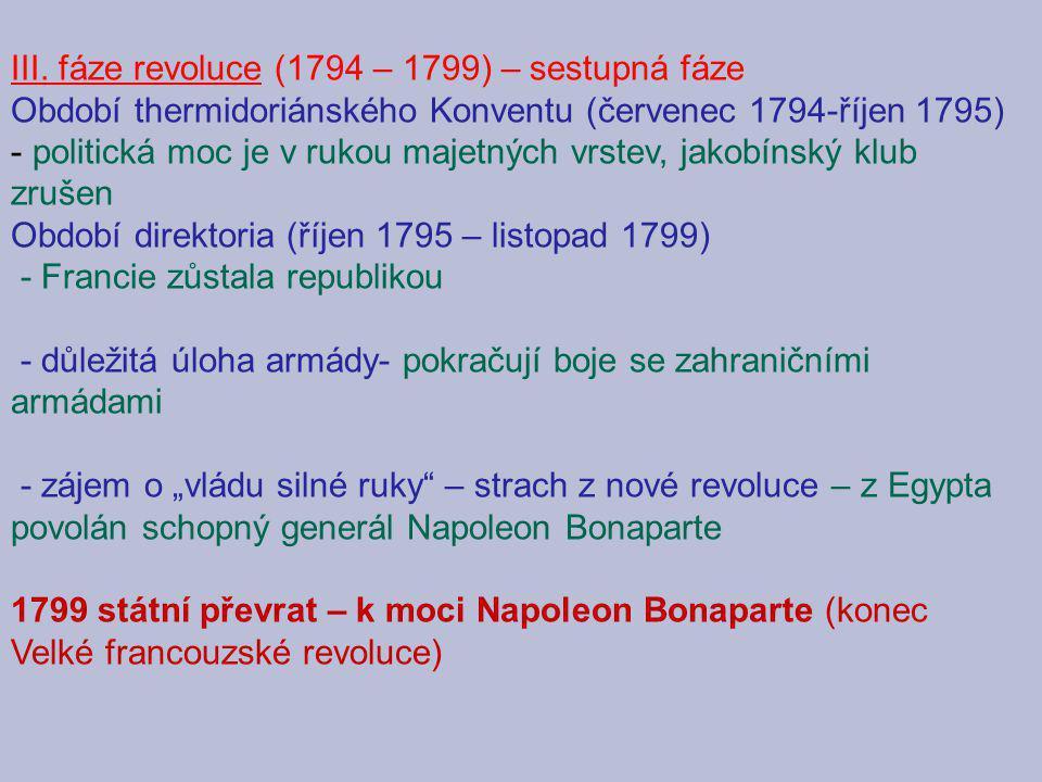III. fáze revoluce (1794 – 1799) – sestupná fáze