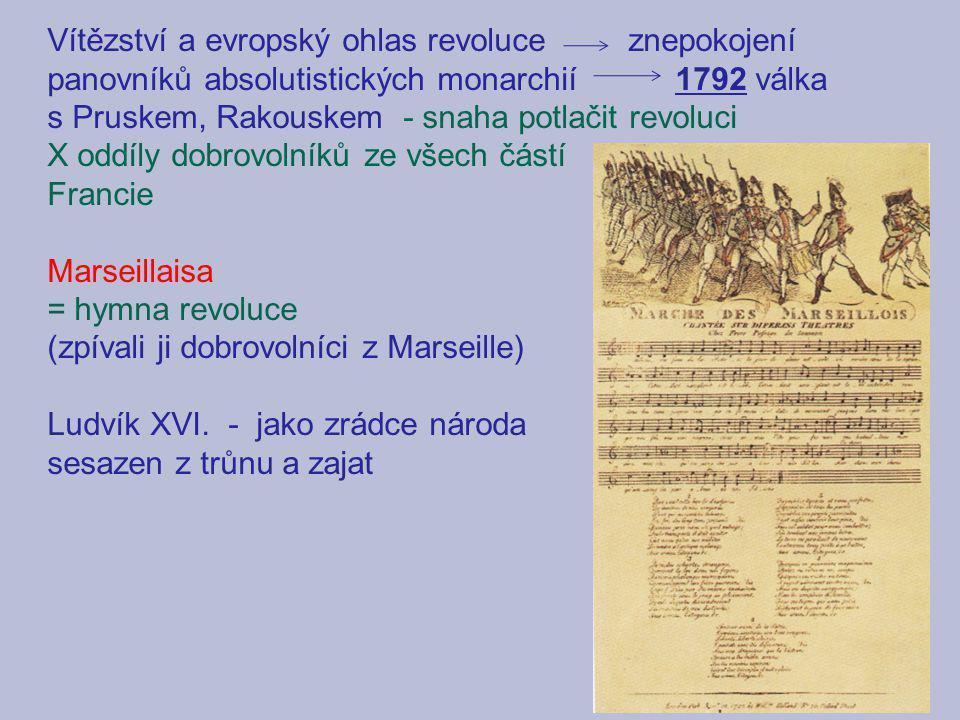 Vítězství a evropský ohlas revoluce znepokojení panovníků absolutistických monarchií 1792 válka s Pruskem, Rakouskem - snaha potlačit revoluci
