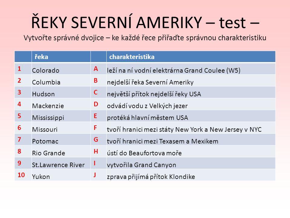 ŘEKY SEVERNÍ AMERIKY – test – Vytvořte správné dvojice – ke každé řece přiřaďte správnou charakteristiku