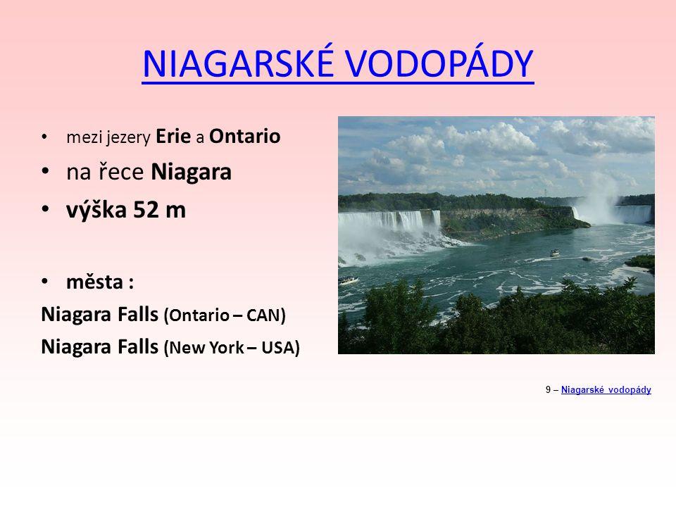 NIAGARSKÉ VODOPÁDY na řece Niagara výška 52 m města :