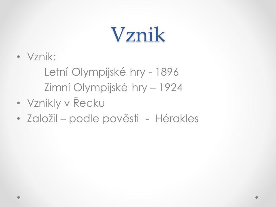 Vznik Vznik: Letní Olympijské hry - 1896 Zimní Olympijské hry – 1924