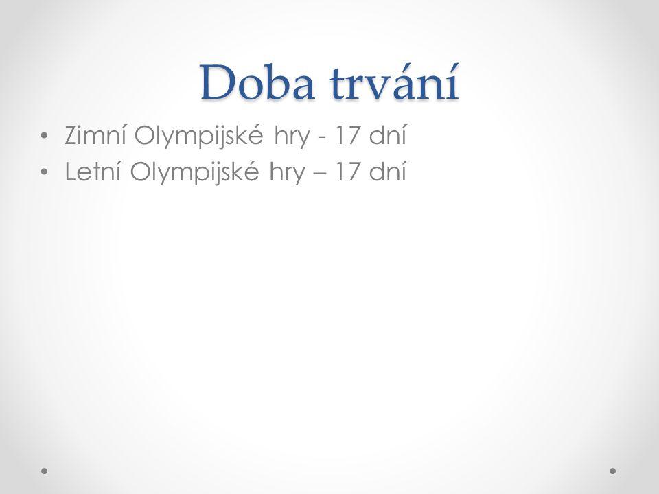 Doba trvání Zimní Olympijské hry - 17 dní