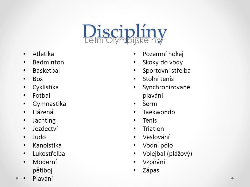 Disciplíny Letní Olympijské hry Atletika Badminton Basketbal Box