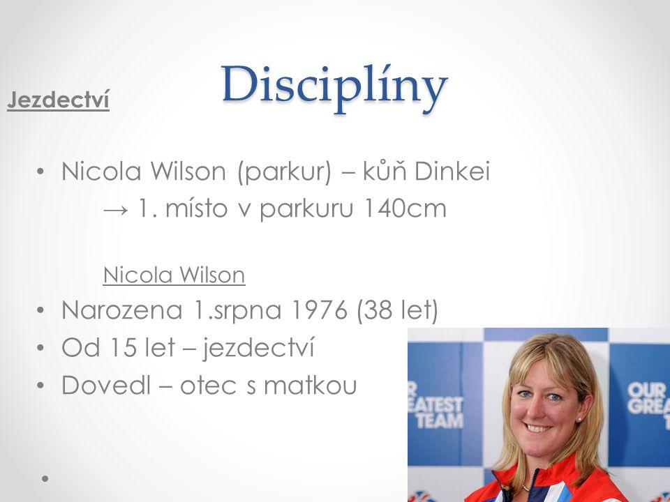 Disciplíny Nicola Wilson (parkur) – kůň Dinkei