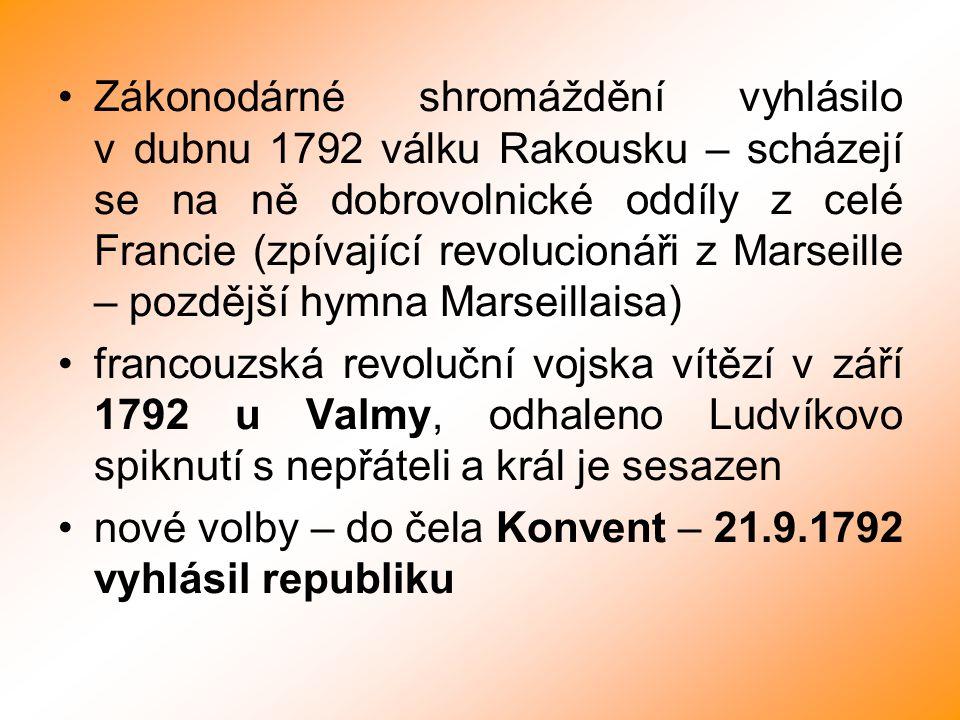 Zákonodárné shromáždění vyhlásilo v dubnu 1792 válku Rakousku – scházejí se na ně dobrovolnické oddíly z celé Francie (zpívající revolucionáři z Marseille – pozdější hymna Marseillaisa)