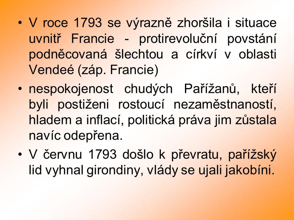 V roce 1793 se výrazně zhoršila i situace uvnitř Francie - protirevoluční povstání podněcovaná šlechtou a církví v oblasti Vendeé (záp. Francie)
