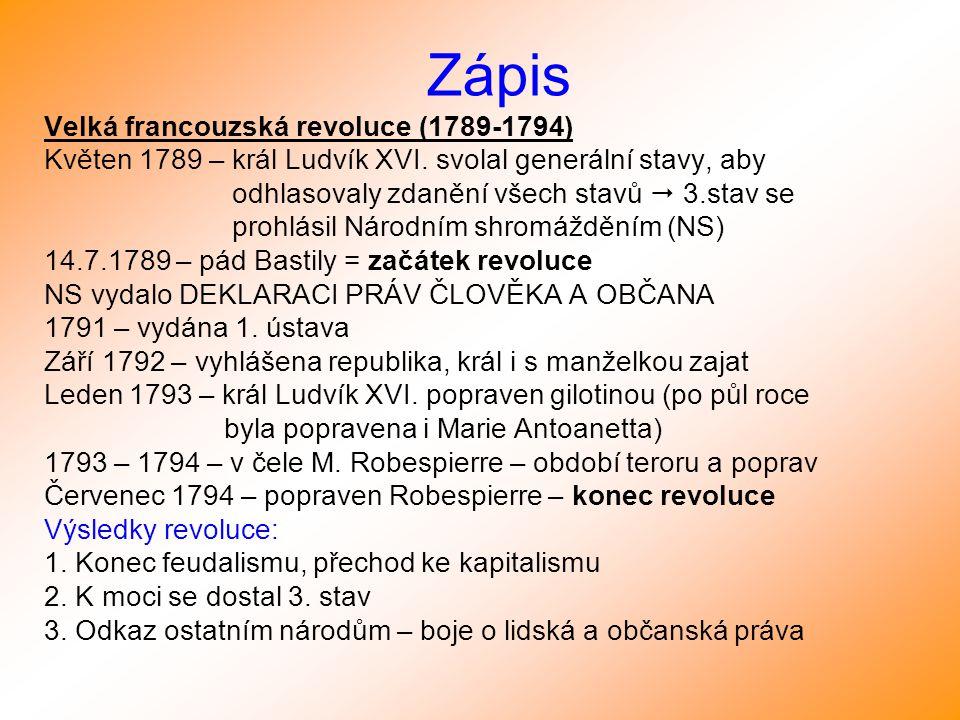 Zápis Velká francouzská revoluce (1789-1794)
