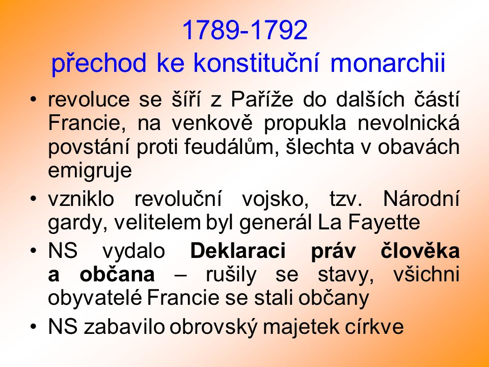 1789-1792 přechod ke konstituční monarchii