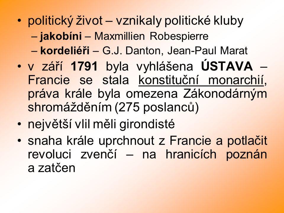 politický život – vznikaly politické kluby