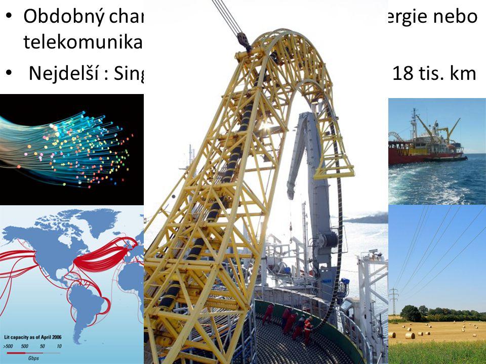 Nejdelší : Singapore-Paris, optický kabel - 18 tis. km