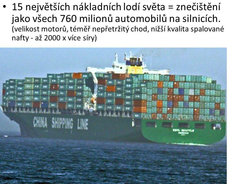 15 největších nákladních lodí světa = znečištění jako všech 760 milionů automobilů na silnicích. (velikost motorů, téměř nepřetržitý chod, nižší kvalita spalované nafty - až 2000 x více síry)