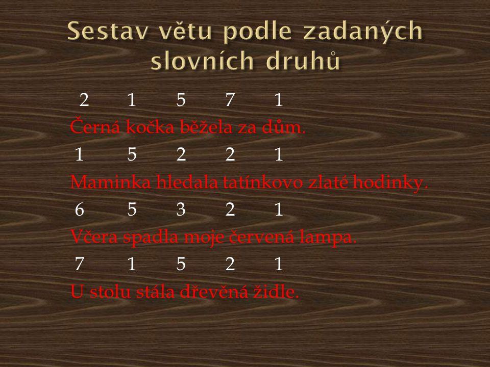 Sestav větu podle zadaných slovních druhů