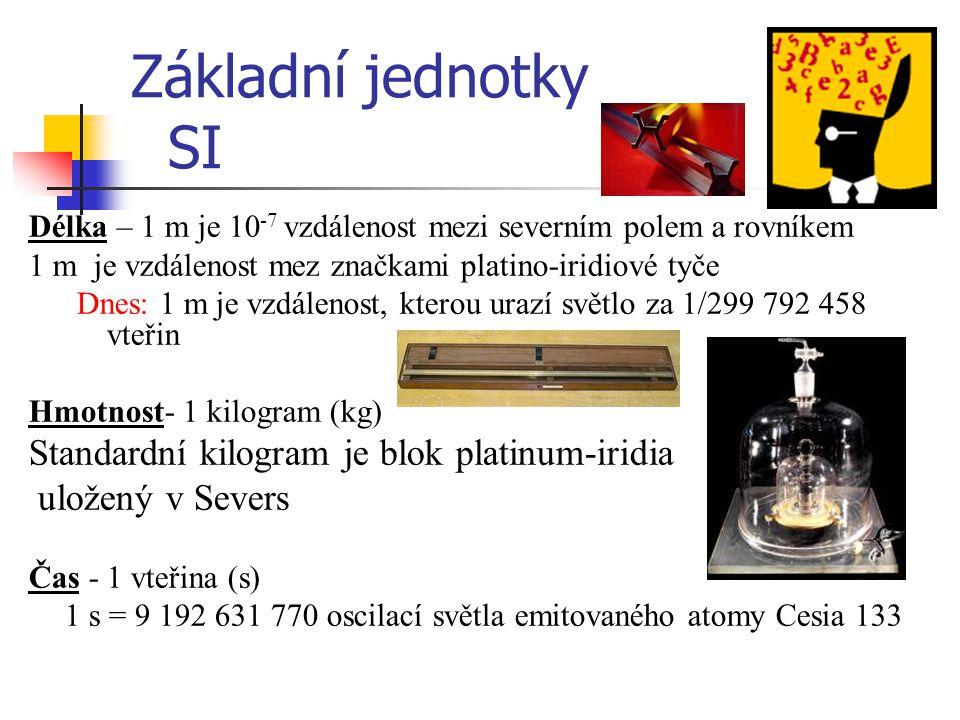 Základní jednotky SI Standardní kilogram je blok platinum-iridia
