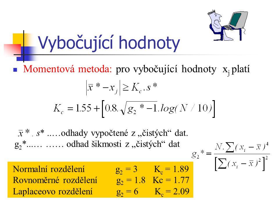 Vybočující hodnoty Momentová metoda: pro vybočující hodnoty xj platí