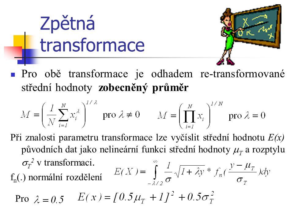 Zpětná transformace Pro obě transformace je odhadem re-transformované střední hodnoty zobecněný průměr.