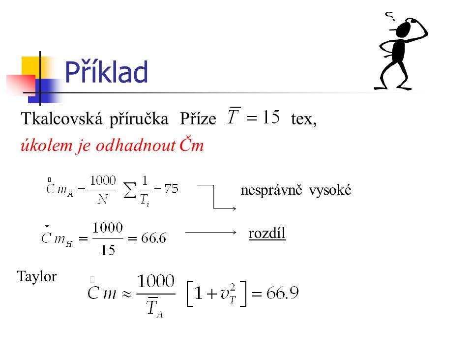Příklad Tkalcovská příručka Příze tex, úkolem je odhadnout Čm