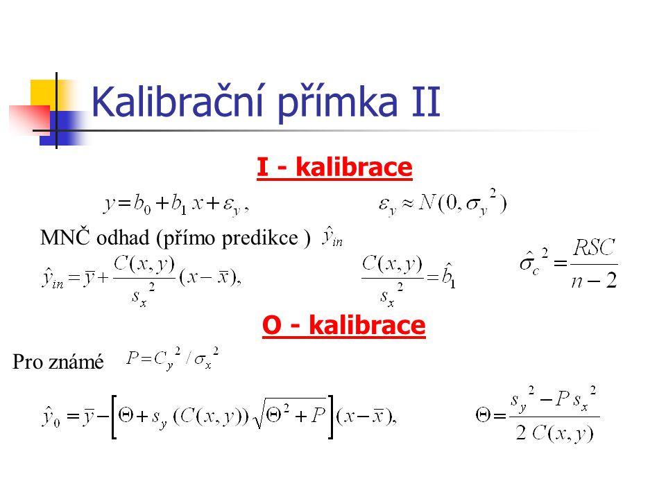 Kalibrační přímka II I - kalibrace O - kalibrace