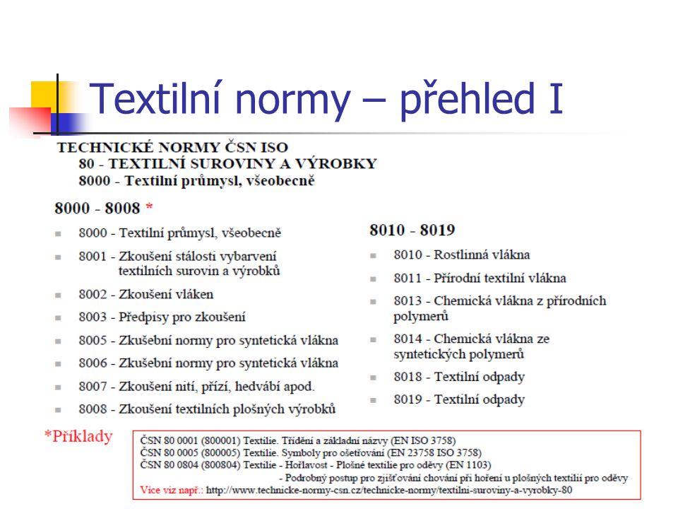 Textilní normy – přehled I