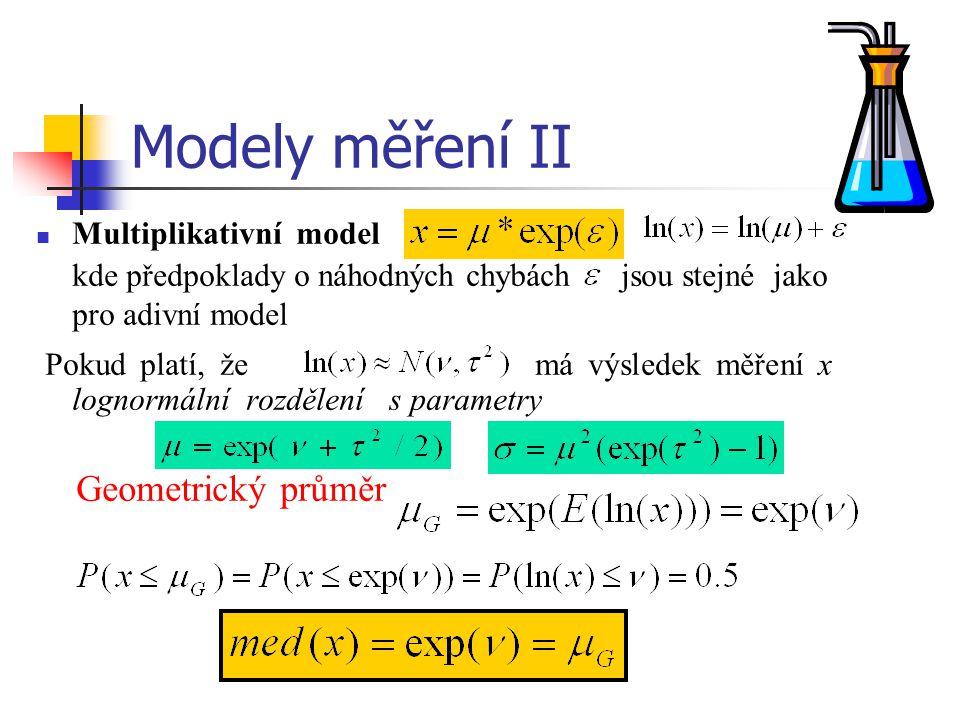 Modely měření II Multiplikativní model. kde předpoklady o náhodných chybách jsou stejné jako pro adivní model.