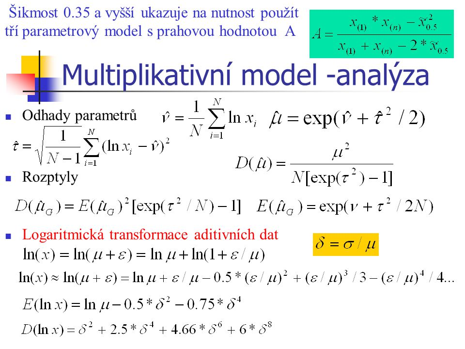 Multiplikativní model -analýza