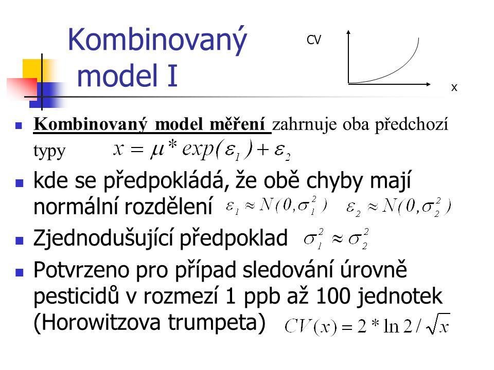 CV Kombinovaný model I. x. Kombinovaný model měření zahrnuje oba předchozí typy. kde se předpokládá, že obě chyby mají normální rozdělení.