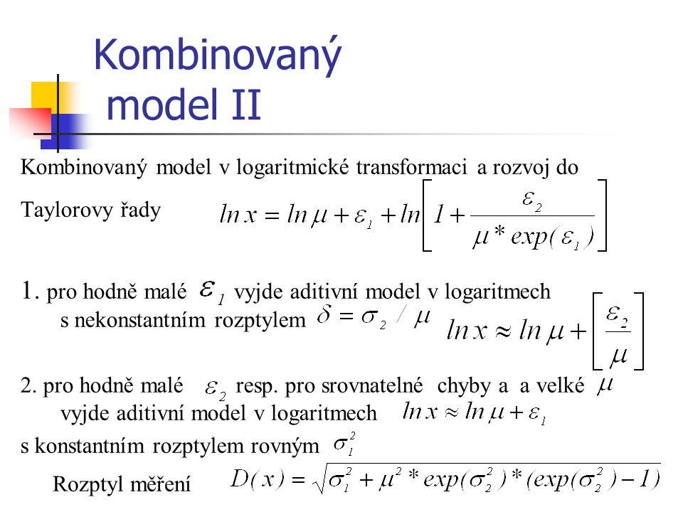 Kombinovaný model II Kombinovaný model v logaritmické transformaci a rozvoj do. Taylorovy řady.