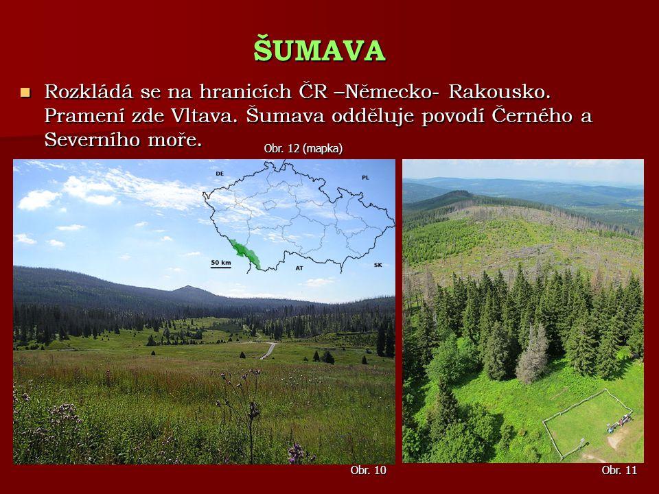 ŠUMAVA Rozkládá se na hranicích ČR –Německo- Rakousko. Pramení zde Vltava. Šumava odděluje povodí Černého a Severního moře.