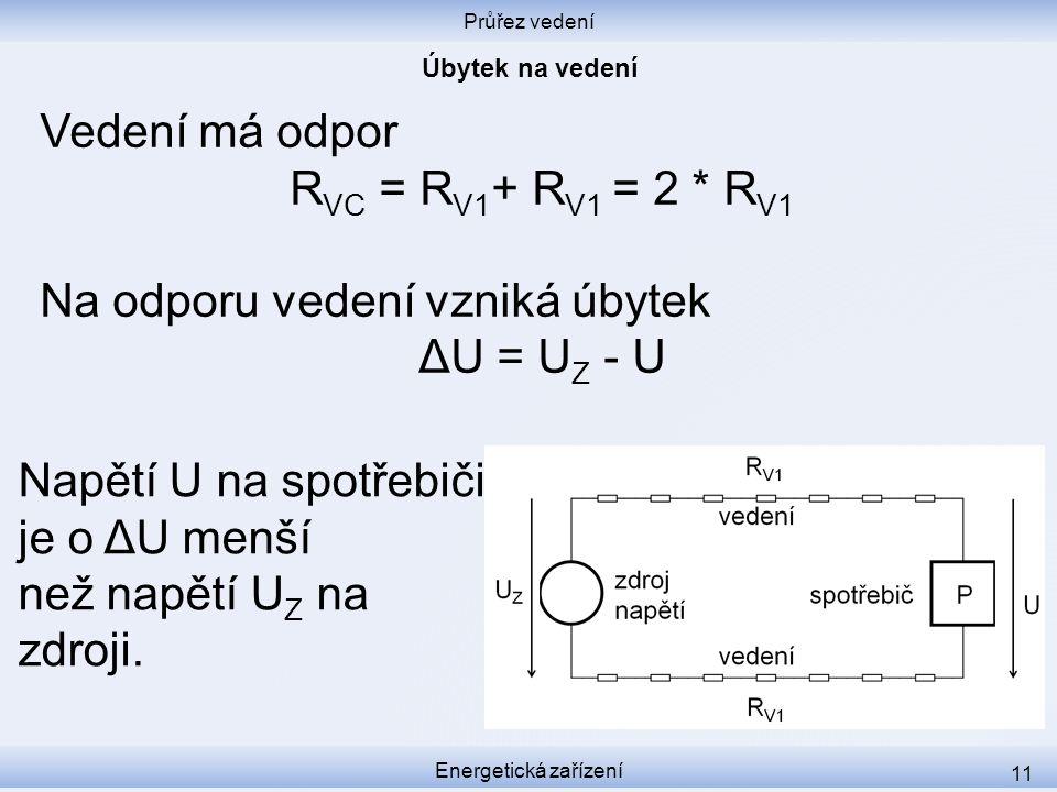 Na odporu vedení vzniká úbytek ΔU = UZ - U