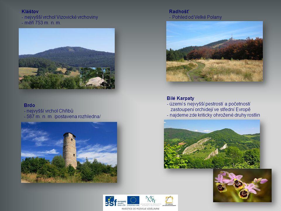 Kláštov - nejvyšší vrchol Vizovické vrchoviny - měří 753 m. n. m. Radhošť. - Pohled od Velké Polany.