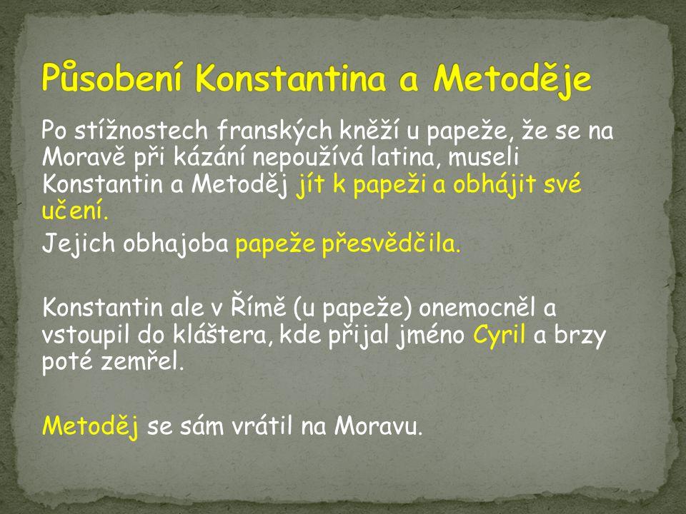 Působení Konstantina a Metoděje