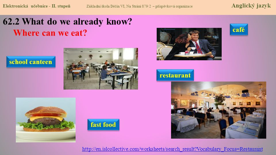 62.2 What do we already know Where can we eat café school canteen