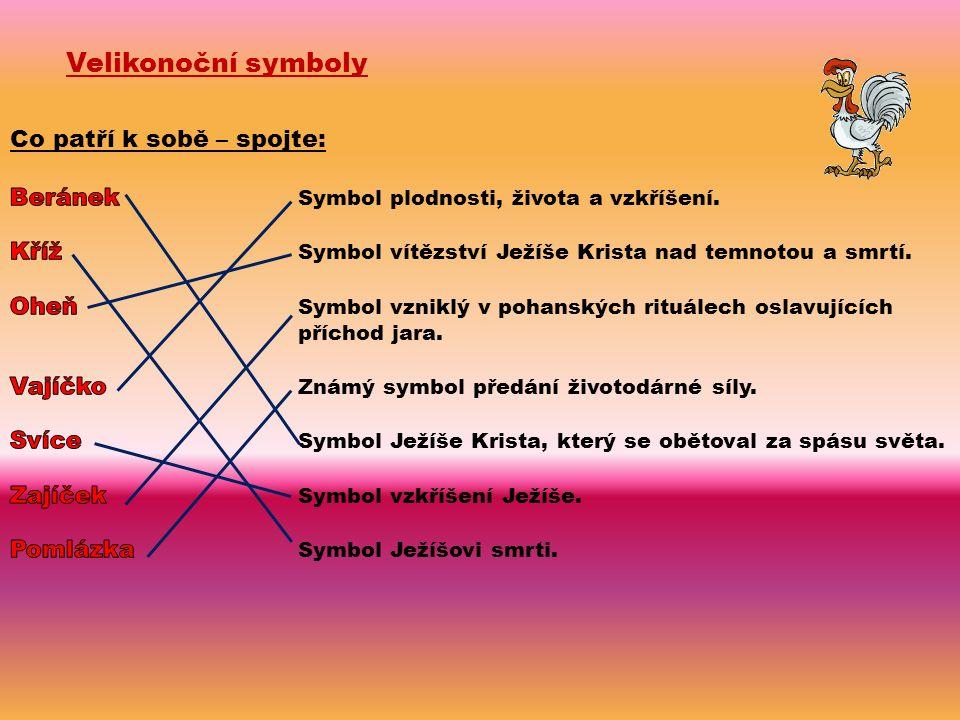 Velikonoční symboly Co patří k sobě – spojte: