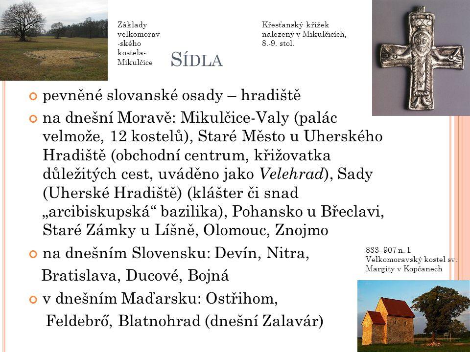Sídla pevněné slovanské osady – hradiště