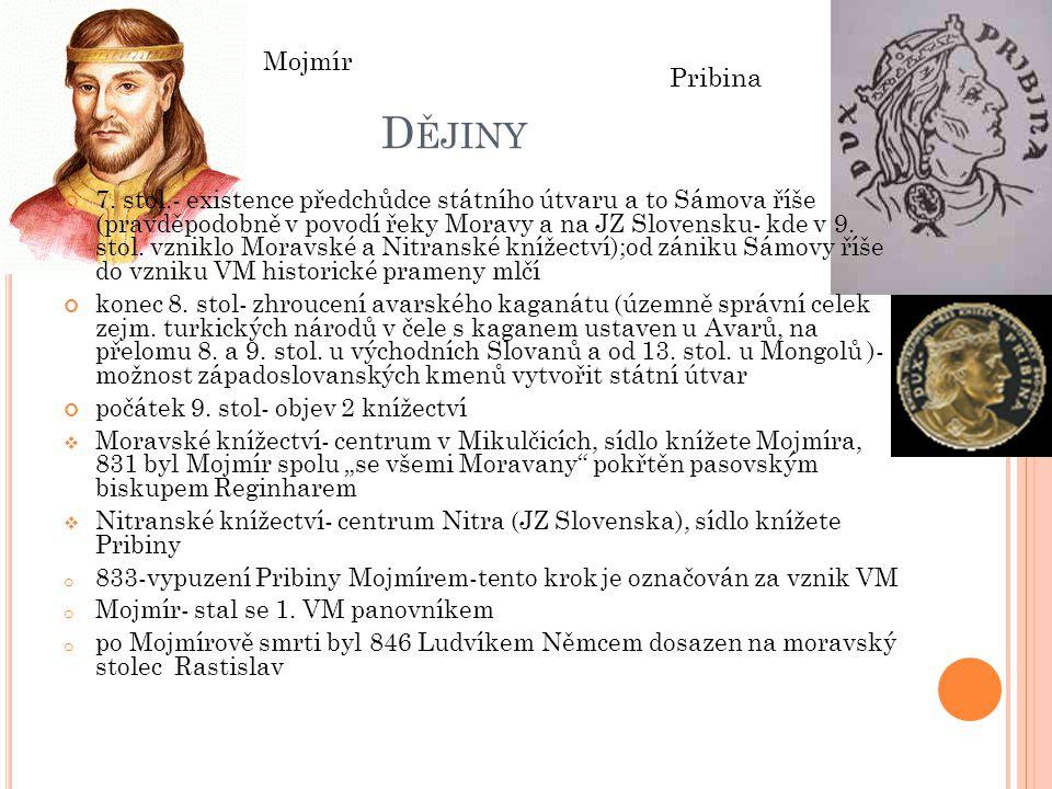 Dějiny Mojmír. Pribina.