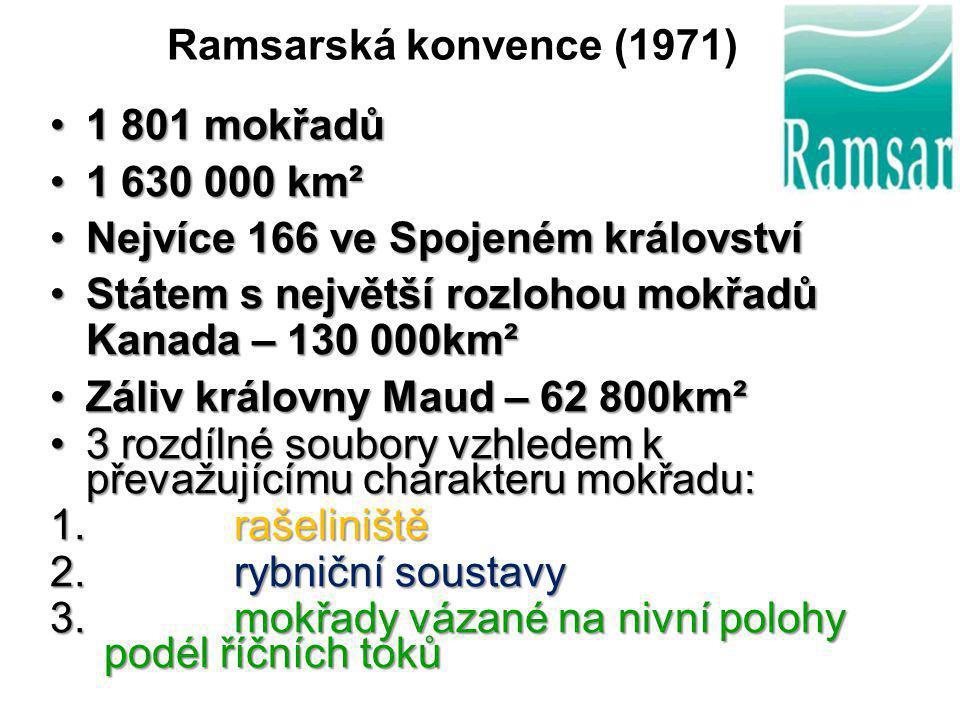 Ramsarská konvence (1971) 1 801 mokřadů. 1 630 000 km². Nejvíce 166 ve Spojeném království. Státem s největší rozlohou mokřadů Kanada – 130 000km².
