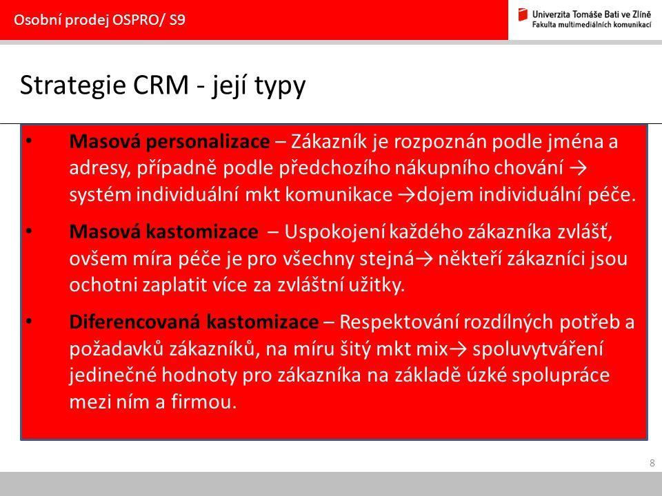 Strategie CRM - její typy