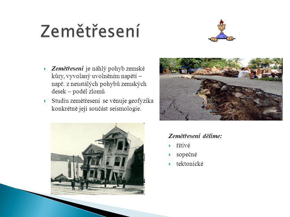 Zemětřesení Zemětřesení je náhlý pohyb zemské kůry, vyvolaný uvolněním napětí – např. z neustálých pohybů zemských desek – podél zlomů.