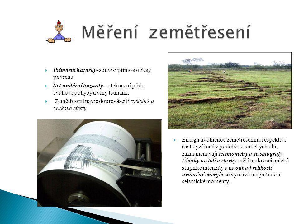 Měření zemětřesení Primární hazardy- souvisí přímo s otřesy povrchu.