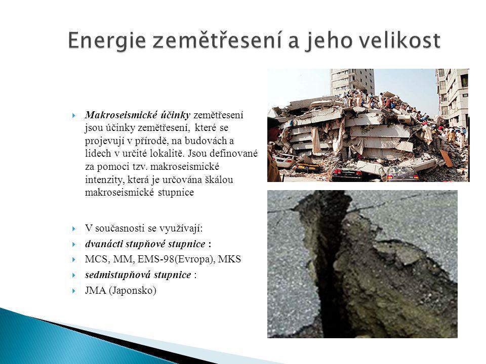 Energie zemětřesení a jeho velikost