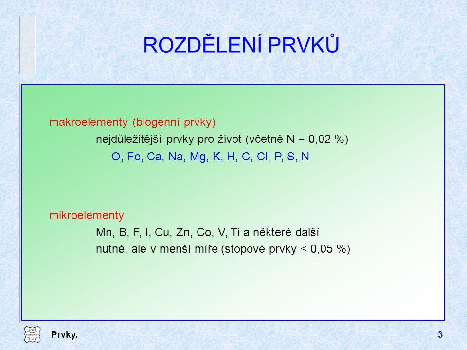 ROZDĚLENÍ PRVKŮ makroelementy (biogenní prvky)