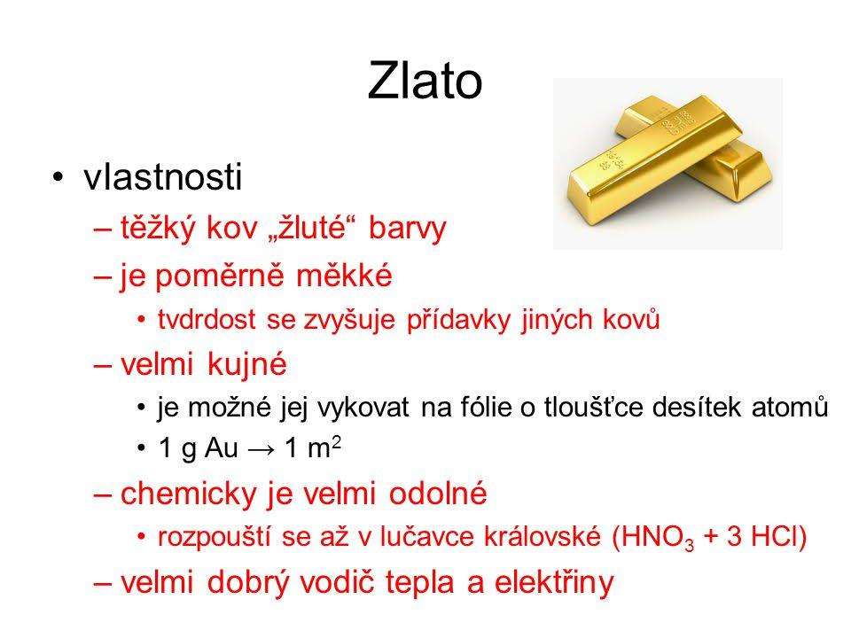 """Zlato vlastnosti těžký kov """"žluté barvy je poměrně měkké velmi kujné"""