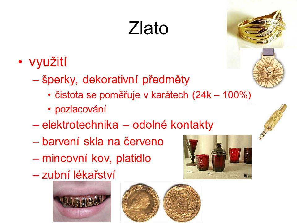 Zlato využití šperky, dekorativní předměty