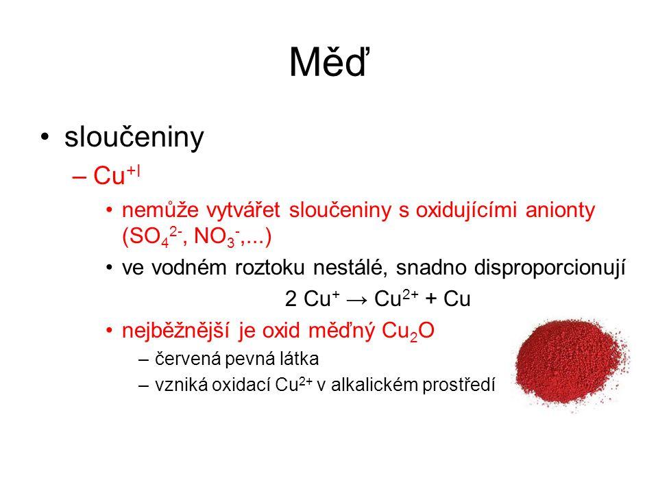 Měď sloučeniny. Cu+I. nemůže vytvářet sloučeniny s oxidujícími anionty (SO42-, NO3-,...) ve vodném roztoku nestálé, snadno disproporcionují.